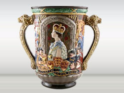 "Royal Doulton Queen Elizabeth II Silver Jubilee Loving Cup, Designer: Reg Johnson, Issued 1977, Height: 10.5"", Limited Edition of 250."